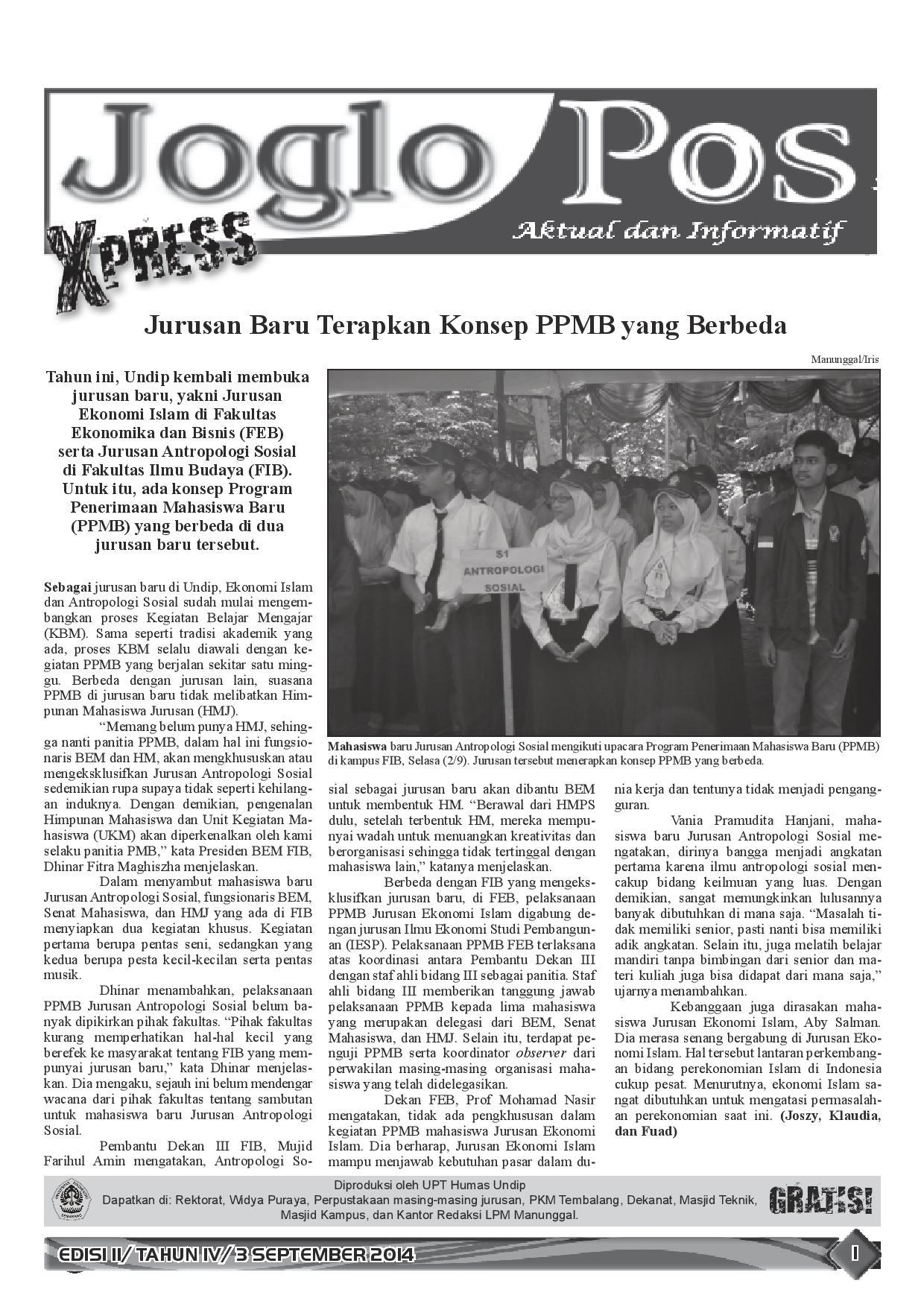 JOGLO POS XPRESS EDISI II/ TAHUN IV/ 3 SEPTEMBER 2014