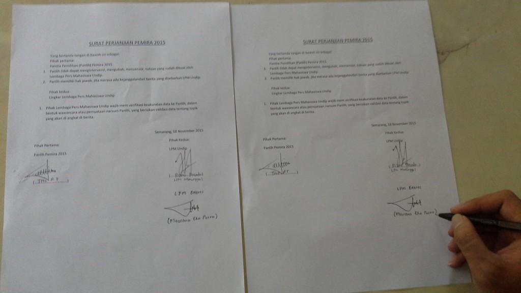 Surat perjanjian yang dibuat oleh LPM Se-Undip dan disetujui Panlih Pemira. (Manunggal/Rizko)