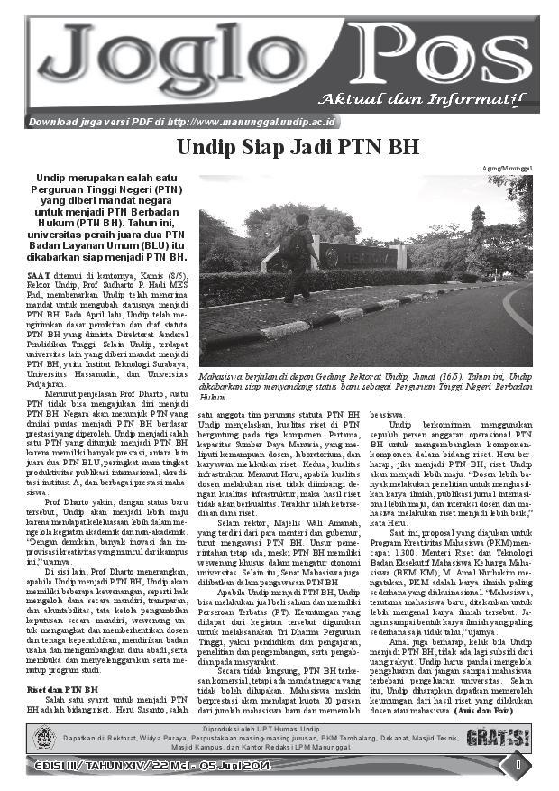 JOGLO POS EDISI III/ TAHUN XIV/ 22 Mei – 05 Juni 2014