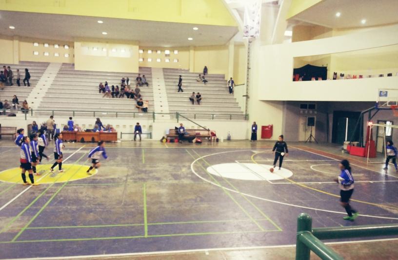 : Tim futsal putri Undip sedang melakukan pemanasan sebelum bertanding dengan tim futsal putri Universitas Gajah Mada (UGM) di babak final dalam Happy in Sport and Euphoria (Hysteria) di GOR UII Yogyakarta, Jumat (26/4). (Dilla/Manunggal)